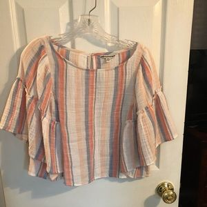 American Eagle cropped striped linen shirt